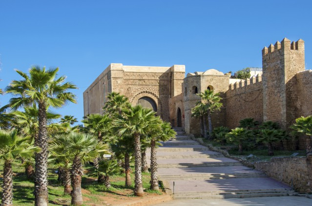 The Kasbah of the Udayas in Rabat, Morocco located at the mouth of the Bou Regreg river opposite of Salé. - The south-west part of fortified wall with the Almohad gate Bab Oudaia