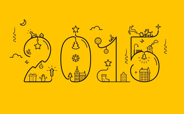 Vector illustration of New Year 2015 inscription with decoration in line style