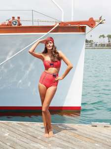 Panache_Swim_Britt_SW0823_Bandeau_Top_SW0826_High_Waist_Pant_Red_Spot